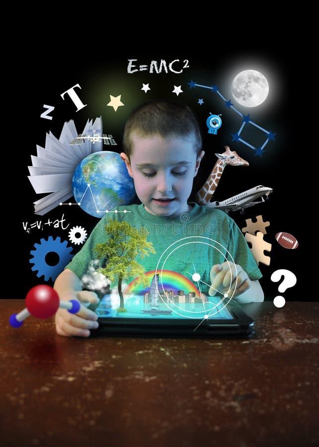 Αγόρι ταμπλετών Διαδικτύου με τα εργαλεία εκμάθησης απεικόνιση αποθεμάτων