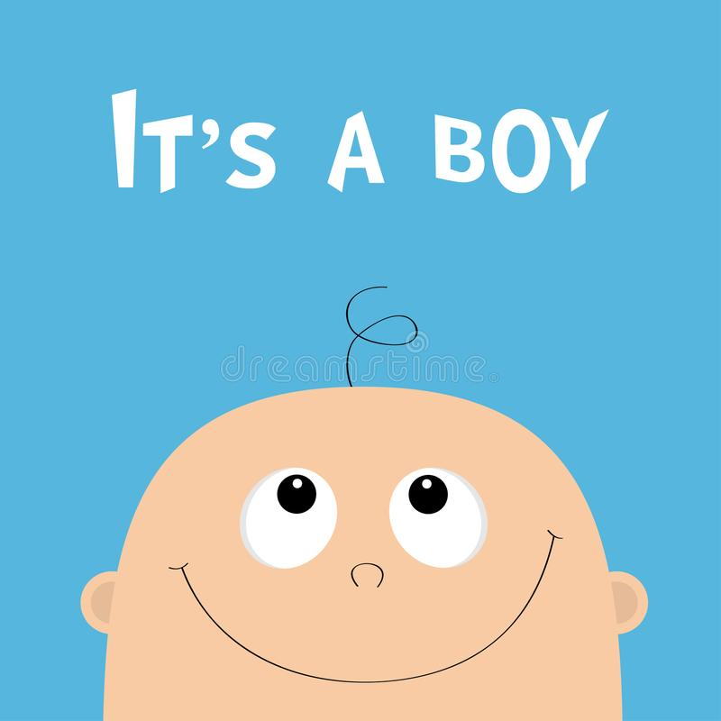 αγόρι του Ευχετήρια κάρτα ντους μωρών Πρόσωπο παιδιών που ανατρέχει Χαριτωμένος χαρακτήρας κινουμένων σχεδίων Αστείο κεφάλι με τη ελεύθερη απεικόνιση δικαιώματος