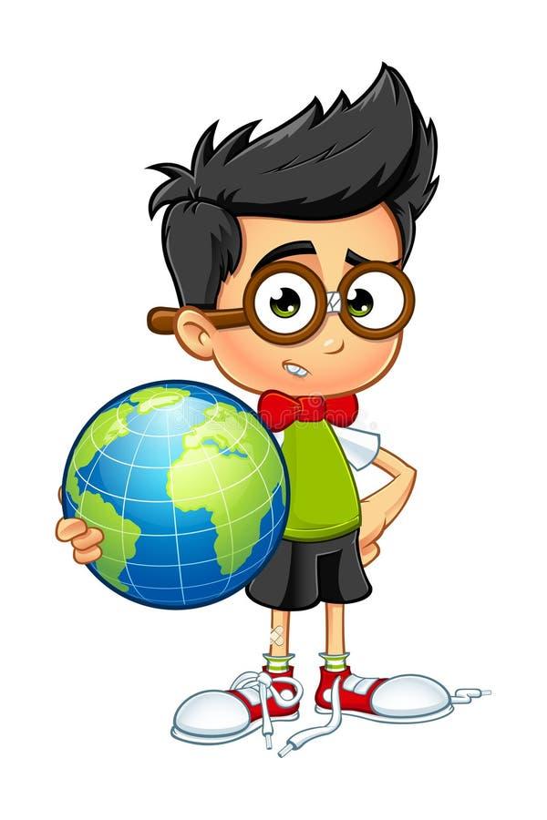 Αγόρι Geek - που κρατά μια σφαίρα διανυσματική απεικόνιση