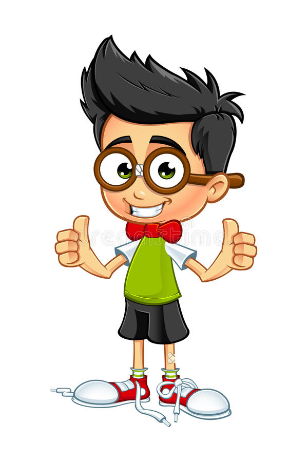 Αγόρι Geek - δύο αντίχειρες επάνω απεικόνιση αποθεμάτων