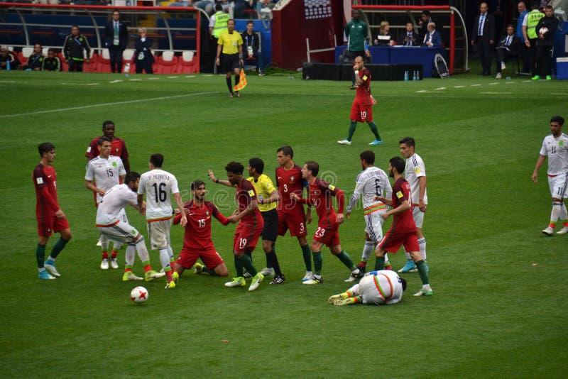 Αγώνας ποδοσφαίρου μεταξύ της Πορτογαλίας και του Μεξικού στη Μόσχα στις 2 Ιουνίου 2017 στοκ εικόνες