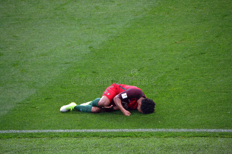 Αγώνας ποδοσφαίρου μεταξύ της Πορτογαλίας και του Μεξικού στη Μόσχα στις 2 Ιουνίου 2017 στοκ εικόνα