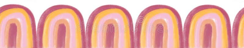 Αδιάλειπτα χρωματισμένα ουράνια τόξα τα παιδιά περίγραμμα Σκίτσο μισού κύκλου Σχεδίαση με το χέρι που επαναλαμβάνει την απλή γεωμ στοκ εικόνες με δικαίωμα ελεύθερης χρήσης