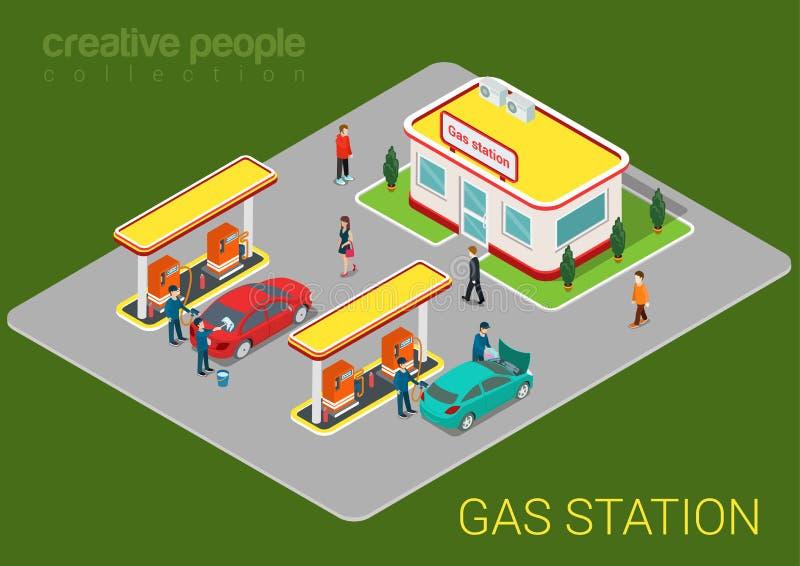 Αερίου βενζίνης ξαναγεμισμάτων isometric έννοια Ιστού σταθμών επίπεδη τρισδιάστατη ελεύθερη απεικόνιση δικαιώματος
