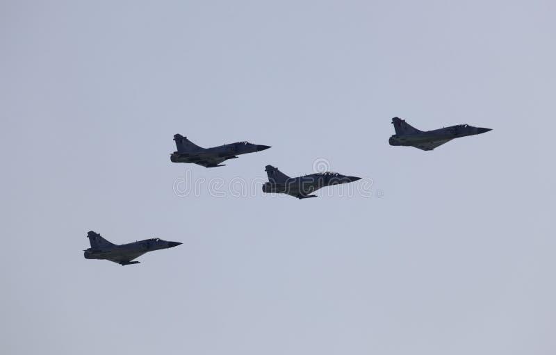 Αεριωθούμενα αεροπλάνα στρατού στο airshow σε Doha, Κατάρ στοκ φωτογραφίες
