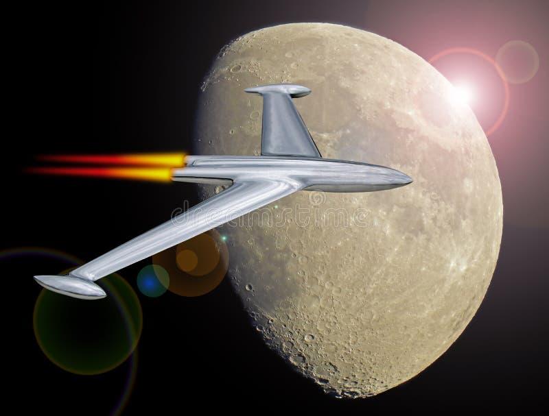 Αεριωθούμενη πτήση πυραύλων στο διάστημα που αφήνει τη γήινη τροχιά στοκ εικόνα