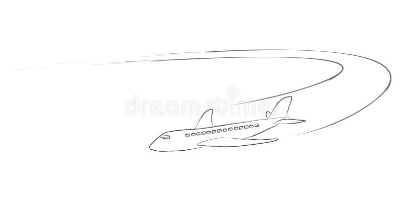 Αεριωθούμενο αεροπλάνο με τα ίχνη ατμού σε ένα συρμένο χέρι ύφος απεικόνιση αποθεμάτων