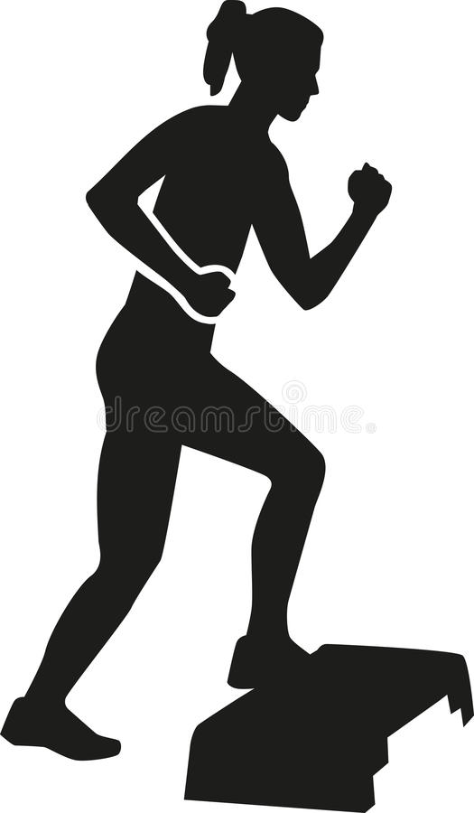 Αεροβικό βήμα άσκησης γυναικών διανυσματική απεικόνιση