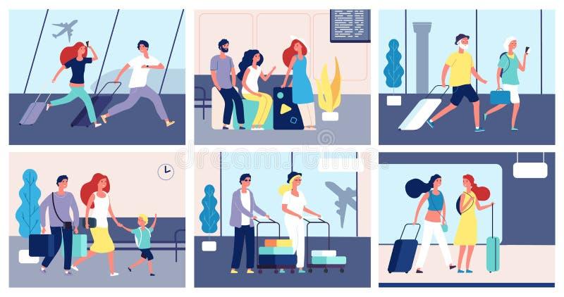 Αερολιμένας ανθρώπων Οι τουρίστες με βαλιτσών το διεθνές ταξιδιωτικό καλοκαίρι επιβατών αερολιμένων τελικό ταξιδεύουν τη μεταφορά ελεύθερη απεικόνιση δικαιώματος