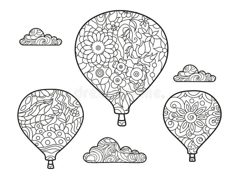 Αεροναυτικό χρωματίζοντας βιβλίο μπαλονιών για το διάνυσμα ενηλίκων ελεύθερη απεικόνιση δικαιώματος