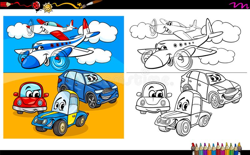 Αεροπλάνα και χαρακτήρες αυτοκινήτων που χρωματίζουν το βιβλίο ελεύθερη απεικόνιση δικαιώματος
