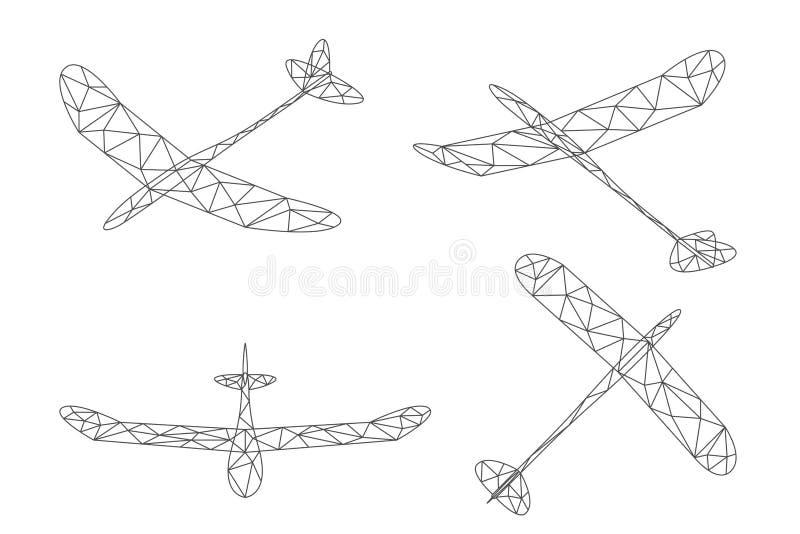 Αεροπλάνο ανεμοπλάνων και σύνολο πολυγώνων σύννεφων wireframe χαμηλό, απεικόνιση σχεδίου κτυπήματος Editable απεικόνιση αποθεμάτων