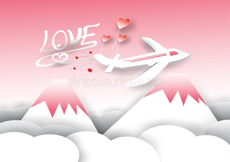 Αεροπλάνο, βουνά και σύννεφα στο θέμα ημέρας του βαλεντίνου απεικόνιση αποθεμάτων