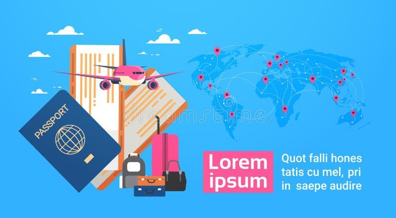 Αεροπλάνο, διαβατήριο τροφής και εισιτήρια με τις αποσκευές πέρα από το υπόβαθρο παγκόσμιων χαρτών, έμβλημα ταξιδιού με το διάστη απεικόνιση αποθεμάτων