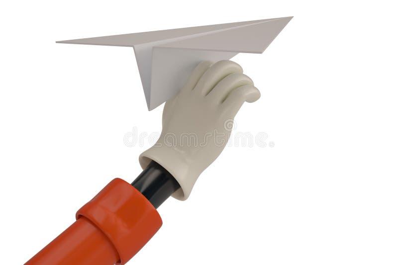 Αεροπλάνο εγγράφου εκμετάλλευσης χεριών κινούμενων σχεδίων στο άσπρο υπόβαθρο τρισδιάστατο illustra ελεύθερη απεικόνιση δικαιώματος