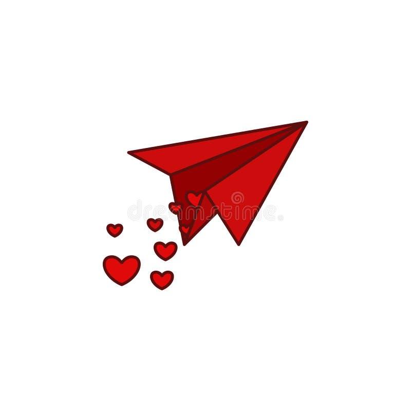 """Αεροπλάνο εγγράφου, καρδιά, valentine's εικονίδιο ημέρας Στοιχείο ημέρας βαλεντίνων \ της """"s χρώματος Γραφικό εικονίδιο σχεδίου διανυσματική απεικόνιση"""