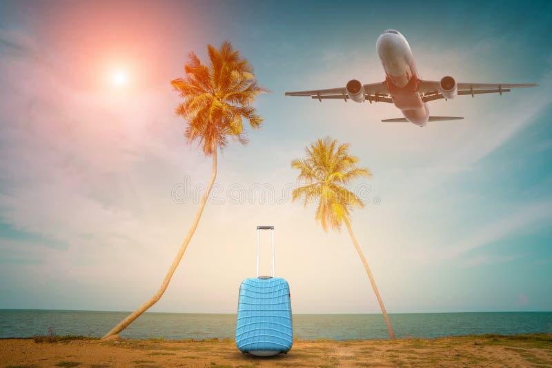 Αεροπλάνο επιβατών και τροπικός φοίνικας σε ένα νησί παραδείσου, φύλλα φοινικών με το κόμμα στο υπόβαθρο παραλιών στο θερινό χρόν στοκ εικόνες