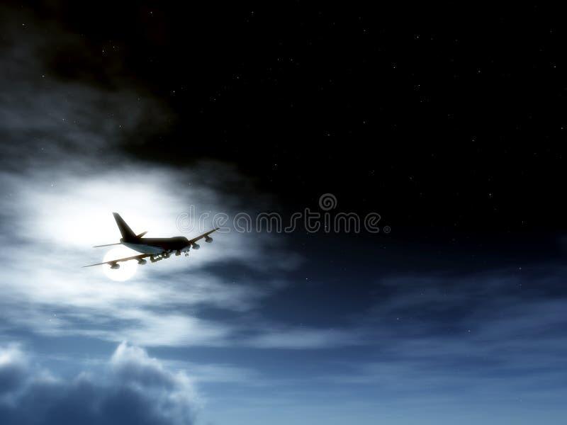 Αεροπλάνο κατά την πτήση τη νύχτα στοκ εικόνες