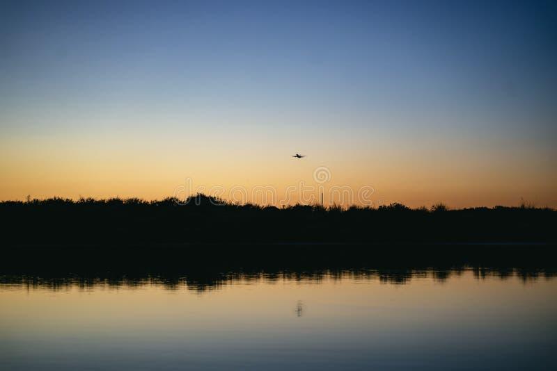 Αεροπλάνο που προσγειώνεται ή που απογειώνεται στον αερολιμένα Faro στοκ φωτογραφίες