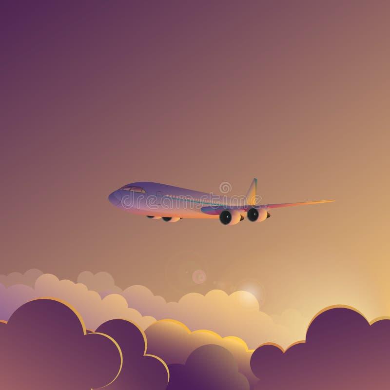 Αεροπλάνο στο διανυσματικό έμβλημα αφισών απεικόνισης ουρανού ανατολής ηλιοβασιλέματος ελεύθερη απεικόνιση δικαιώματος