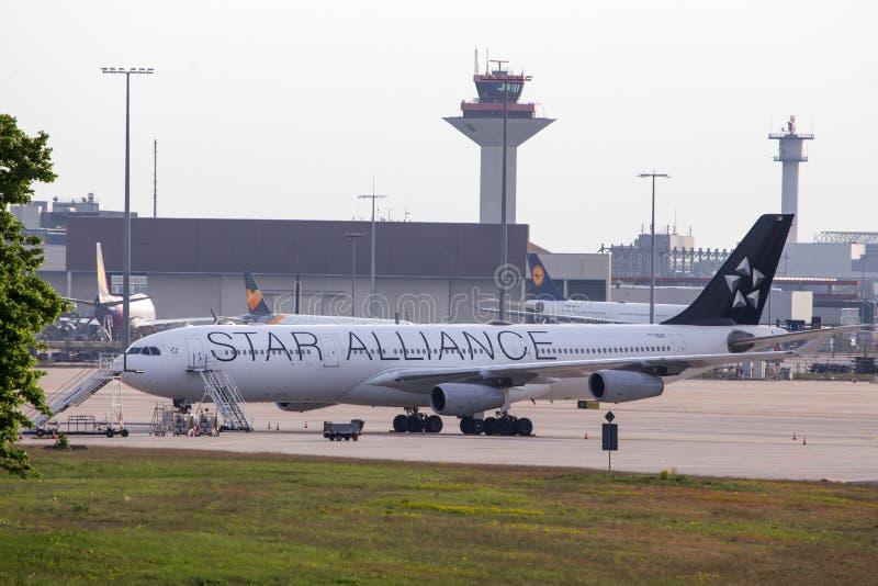Αεροπλάνο τυπωμένων υλών συμμαχίας αστεριών στο έδαφος στον αερολιμένα Γερμανία του Ντίσελντορφ στοκ φωτογραφία
