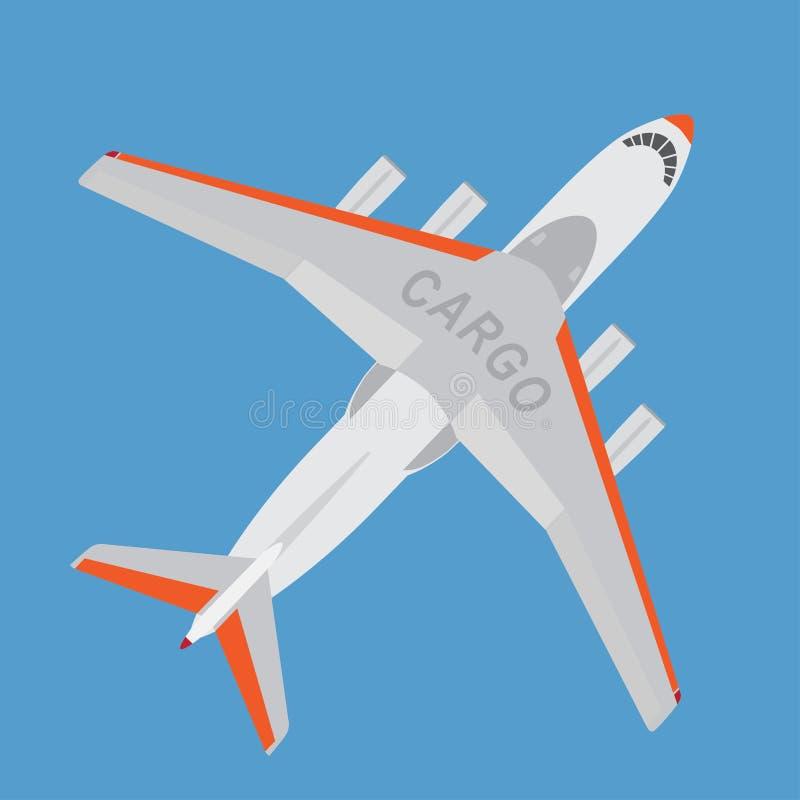 Αεροπλάνο φορτίου που απομονώνεται στο μπλε υπόβαθρο διανυσματική απεικόνιση