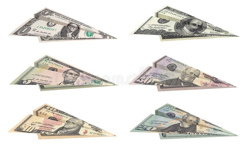 Αεροπλάνα δολαρίων στοκ εικόνα με δικαίωμα ελεύθερης χρήσης