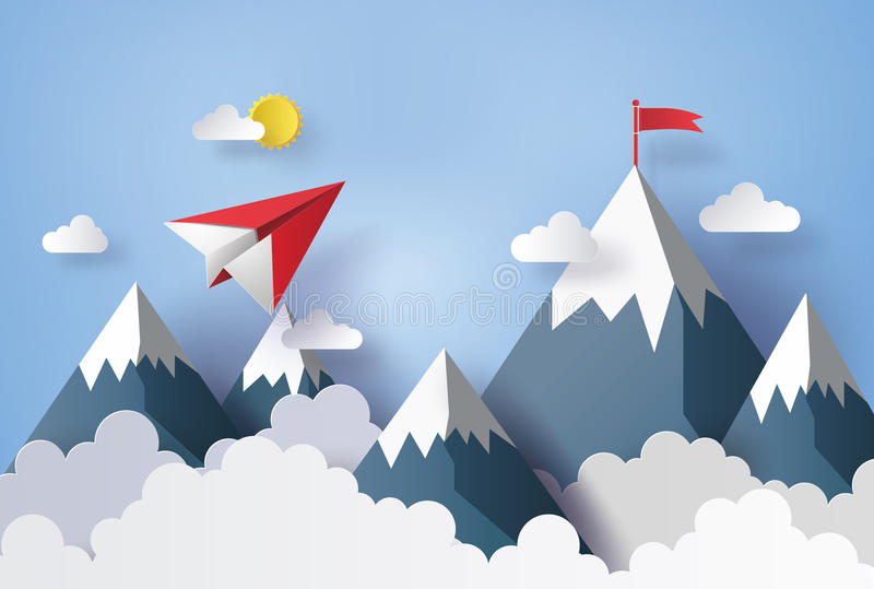Αεροπλάνο εγγράφου που πετά στον ουρανό ελεύθερη απεικόνιση δικαιώματος