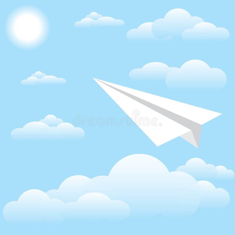 Αεροπλάνο εγγράφου στον ουρανό, τον ήλιο και το σύννεφο απεικόνιση αποθεμάτων