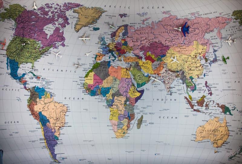 Αεροπλάνο και χάρτης στοκ φωτογραφία