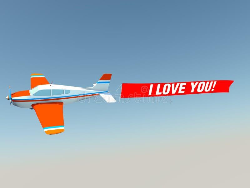 Αεροπλάνο με σ' αγαπώ το έμβλημα στοκ εικόνες