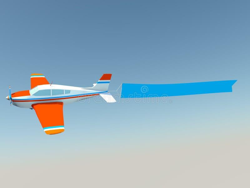 Αεροπλάνο με το κενό έμβλημα στοκ φωτογραφίες