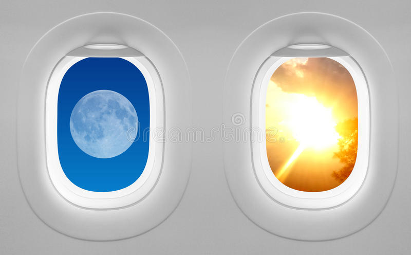 Αεροπλάνο παραθύρων - τα αντίθετα προσελκύουν στοκ φωτογραφία