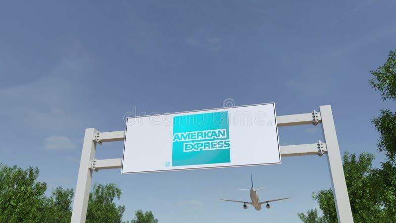 Αεροπλάνο που πετά πέρα από τη διαφήμιση του πίνακα διαφημίσεων με το λογότυπο της American Express Εκδοτική τρισδιάστατη απόδοση στοκ φωτογραφίες με δικαίωμα ελεύθερης χρήσης
