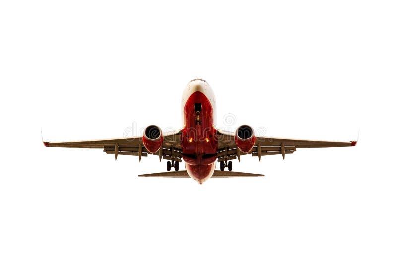 Αεροπλάνο που πλησιάζει στο προσγειωμένος απομονωμένο άσπρο backgorund στοκ εικόνα