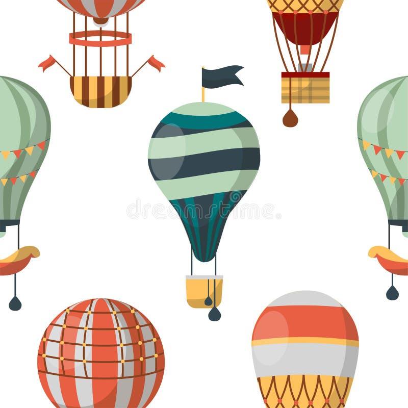 Αεροσκάφη μπαλονιών αέρα ή άνευ ραφής ταξίδι σχεδίων μεταφορών διανυσματική απεικόνιση