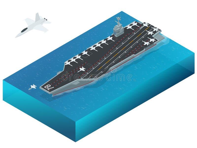 Αεροσκάφη που ορίζονται στο πυρηνοκίνητα αεροπλανοφόρο Isometric διανυσματικό πυρηνικό αεροπλανοφόρο ναυτικού διανυσματική απεικόνιση