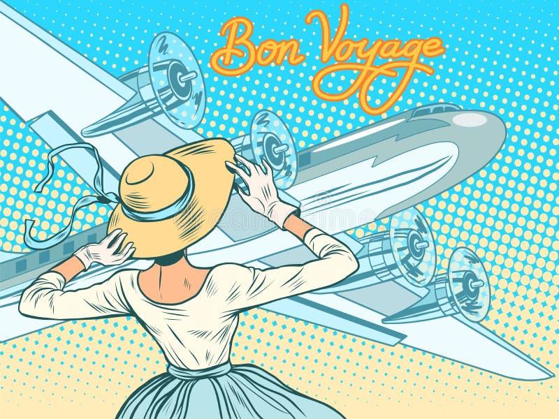 Αεροσκάφη συνοδειών κοριτσιών ταξιδιών Bon ελεύθερη απεικόνιση δικαιώματος