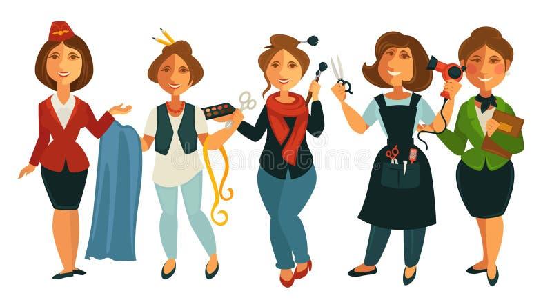 Αεροσυνοδός γυναικών επαγγελμάτων ανθρώπων, μοδίστρα ραφτών, makeup διανυσματικό οριζόντια απομονωμένο σύνολο στιλίστων ελεύθερη απεικόνιση δικαιώματος
