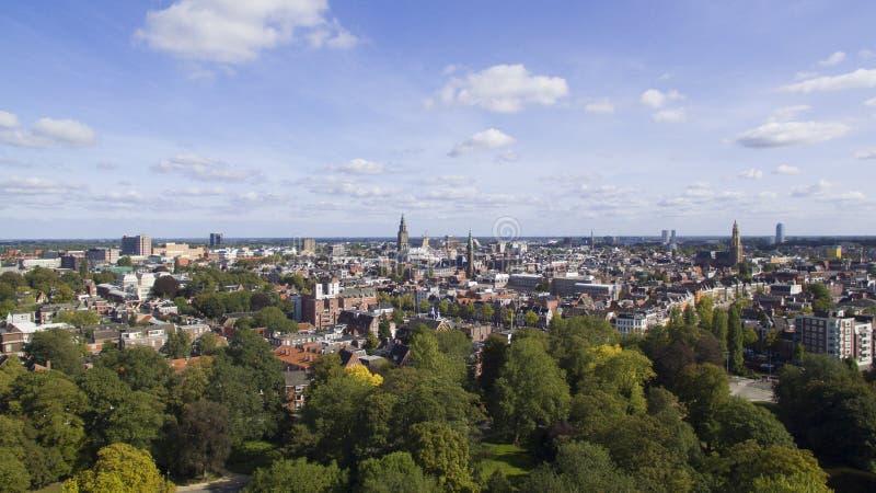 Αεροφωτογραφία στο κέντρο της πόλης Groningen στοκ εικόνες