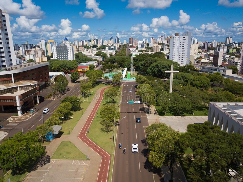 Αεροφωτογραφία της πόλης Cascavel, Paraná, Βραζιλία στοκ φωτογραφίες με δικαίωμα ελεύθερης χρήσης