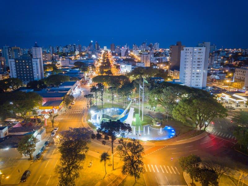 Αεροφωτογραφία της πόλης Cascavel, ParanÃ, Βραζιλία στοκ εικόνα