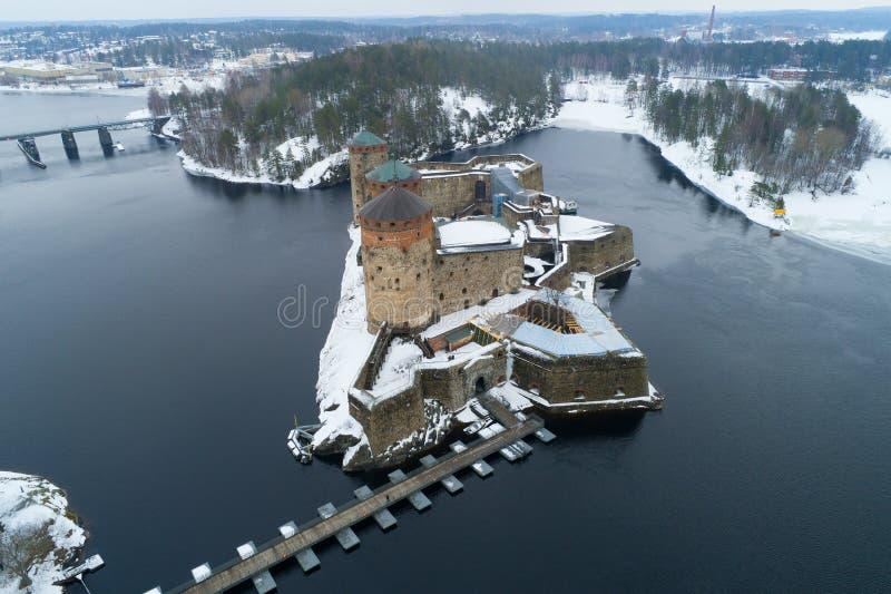 Αεροφωτογραφία φρουρίων Olavinlinna Savonlina, Φινλανδία στοκ εικόνα