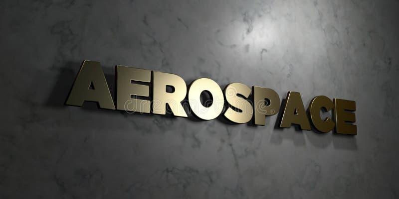 Αεροδιαστημικό - χρυσό κείμενο στο μαύρο υπόβαθρο - τρισδιάστατο δικαίωμα ελεύθερη εικόνα αποθεμάτων απεικόνιση αποθεμάτων