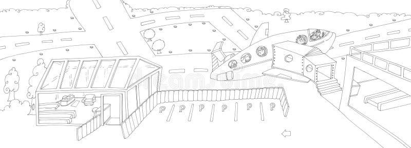 Αερολιμένας με το μεγάλο αεροπλάνο που απογειώνεται με τα παιδιά, ράχη που σύρεται από το χρώμα ελεύθερη απεικόνιση δικαιώματος
