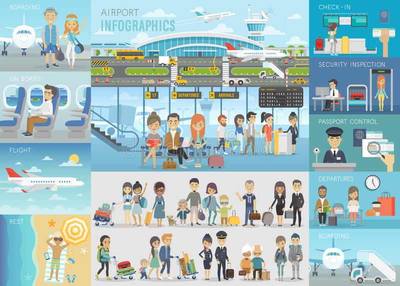 Αερολιμένας Infographic που τίθεται με τα διαγράμματα και άλλα στοιχεία απεικόνιση αποθεμάτων
