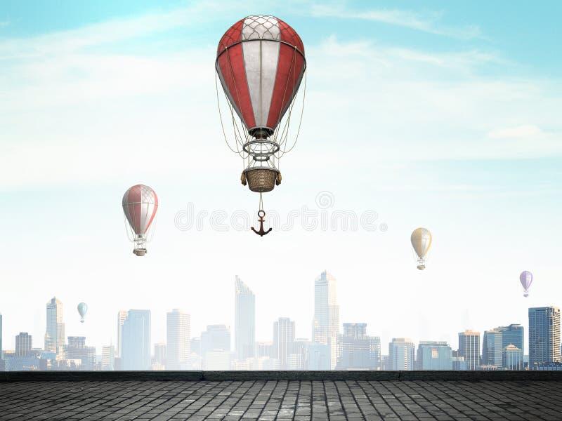 Αερόστατα που πετούν πέρα από τον ουρανό Μικτά μέσα στοκ εικόνες