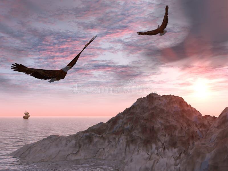 αετός δύο απεικόνιση αποθεμάτων