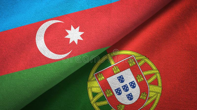 Αζερμπαϊτζάν και Πορτογαλία δύο υφαντικό ύφασμα σημαιών, σύσταση υφάσματος διανυσματική απεικόνιση