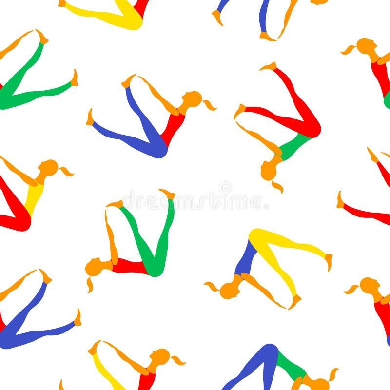 Αθλήτριες Διανυσματικές εικόνες σχεδίων χρώματος διανυσματική απεικόνιση